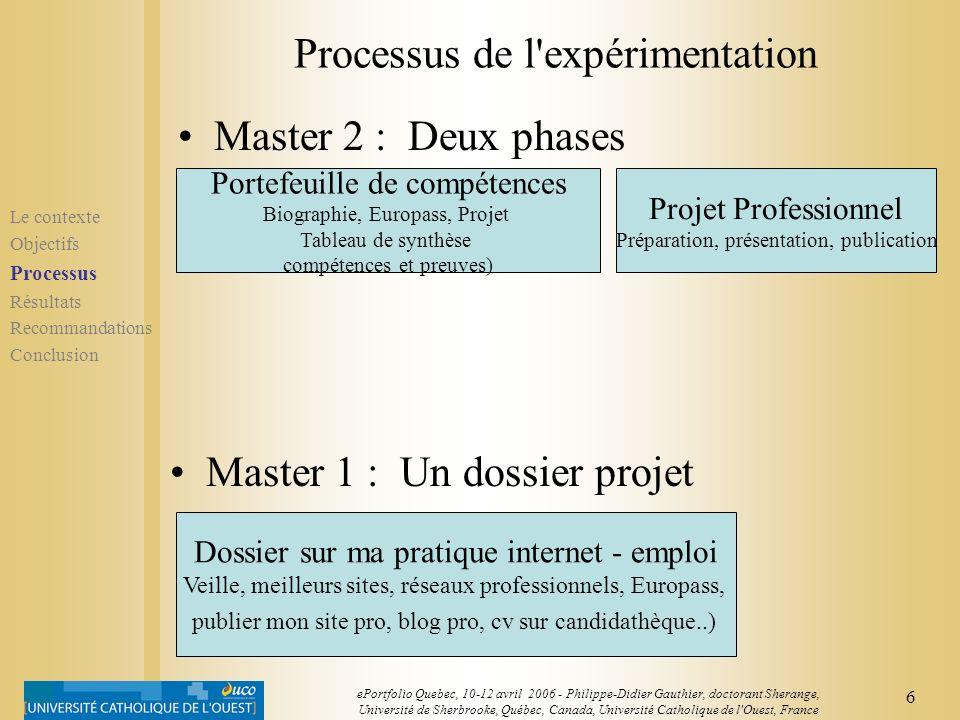 5 ePortfolio Quebec, 10-12 avril 2006 - Philippe-Didier Gauthier, doctorant Sherange, Université de Sherbrooke, Québec, Canada, Université Catholique