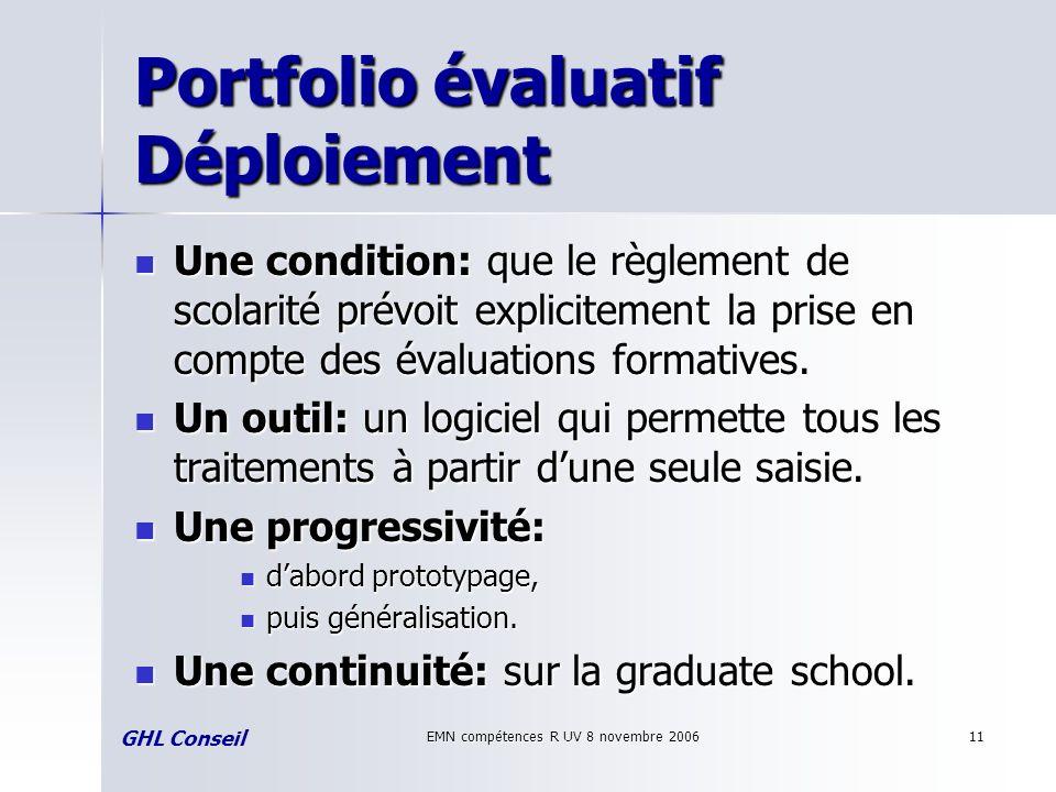 EMN compétences R UV 8 novembre 200611 Portfolio évaluatif Déploiement Une condition: que le règlement de scolarité prévoit explicitement la prise en