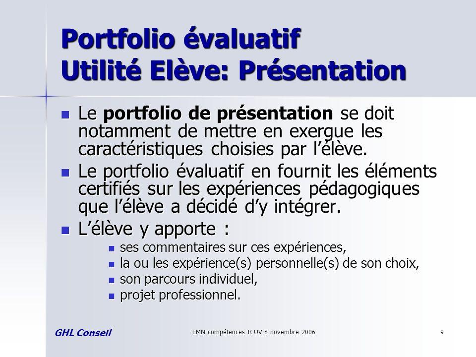 EMN compétences R UV 8 novembre 20069 Portfolio évaluatif Utilité Elève: Présentation Le portfolio de présentation se doit notamment de mettre en exer