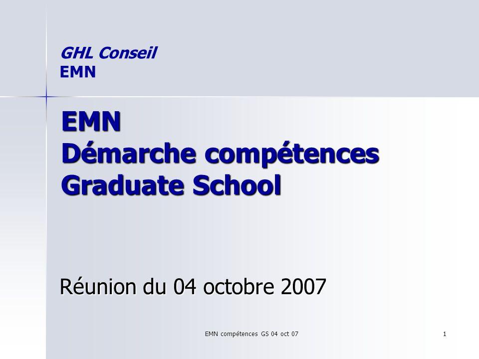 EMN compétences GS 04 oct 07 1 EMN Démarche compétences Graduate School Réunion du 04 octobre 2007 GHL Conseil EMN
