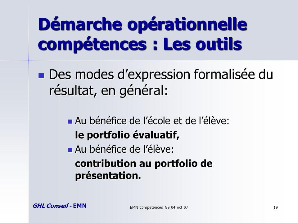 GHL Conseil - EMN EMN compétences GS 04 oct 0719 Démarche opérationnelle compétences : Les outils Des modes dexpression formalisée du résultat, en général: Des modes dexpression formalisée du résultat, en général: Au bénéfice de lécole et de lélève: Au bénéfice de lécole et de lélève: le portfolio évaluatif, Au bénéfice de lélève: Au bénéfice de lélève: contribution au portfolio de présentation.
