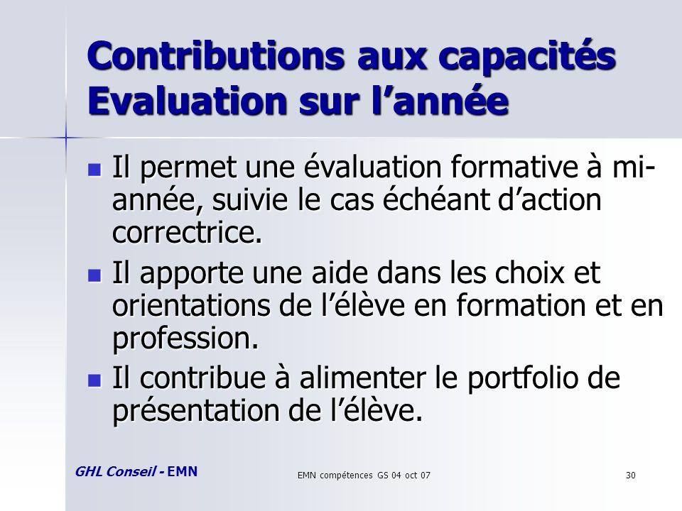 GHL Conseil - EMN EMN compétences GS 04 oct 0730 Contributions aux capacités Evaluation sur lannée Il permet une évaluation formative à mi- année, suivie le cas échéant daction correctrice.