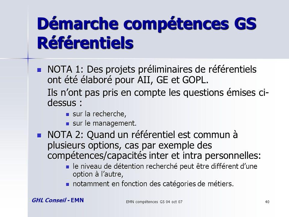 GHL Conseil - EMN EMN compétences GS 04 oct 0740 Démarche compétences GS Référentiels NOTA 1: Des projets préliminaires de référentiels ont été élaboré pour AII, GE et GOPL.
