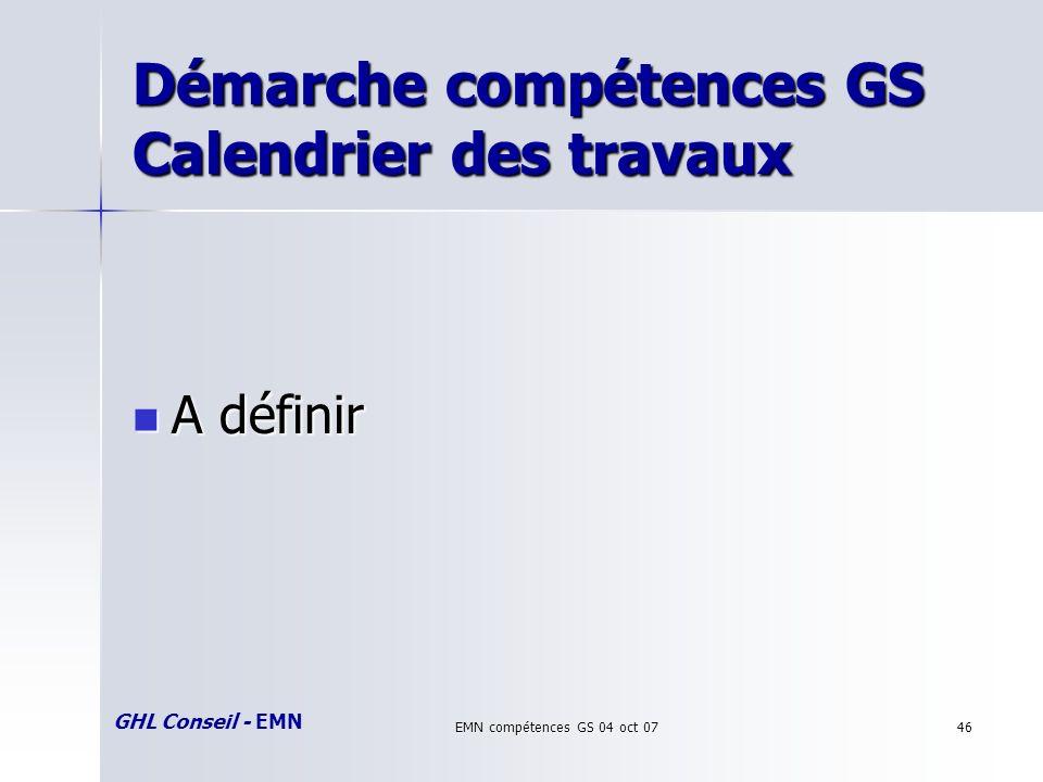 GHL Conseil - EMN EMN compétences GS 04 oct 0746 Démarche compétences GS Calendrier des travaux A définir A définir