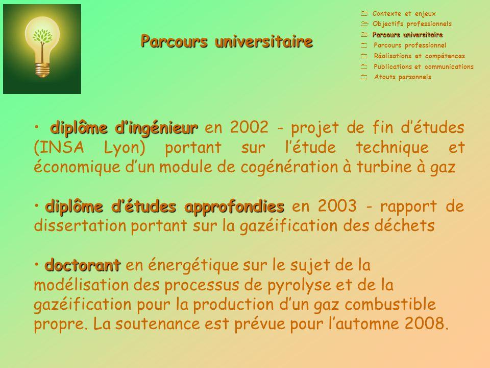 Contexte et enjeux Objectifs professionnels Parcours universitaire Parcours professionnel Réalisations et compétences Publications et communications A