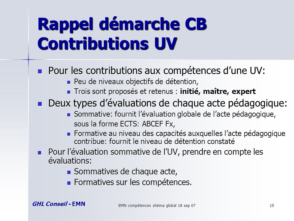 GHL Conseil - EMN EMN compétences shéma global 18 sep 0715 Rappel démarche CB Contributions UV Pour les contributions aux compétences dune UV: Pour le