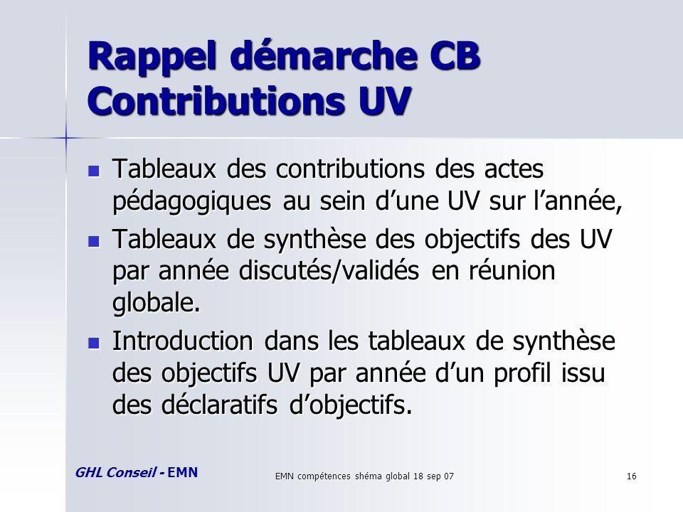 GHL Conseil - EMN EMN compétences shéma global 18 sep 0716 Rappel démarche CB Contributions UV Tableaux des contributions des actes pédagogiques au se