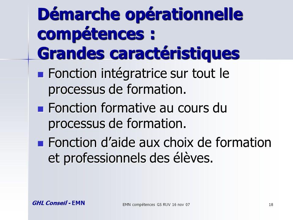 GHL Conseil - EMN EMN compétences GS RUV 16 nov 0718 Démarche opérationnelle compétences : Grandes caractéristiques Fonction intégratrice sur tout le processus de formation.