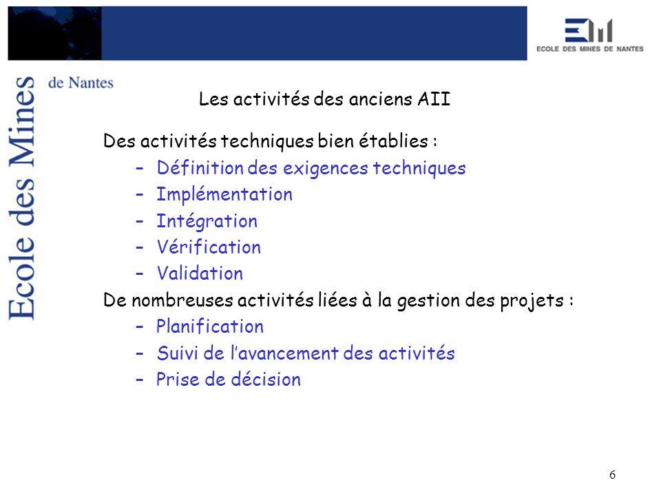 6 Les activités des anciens AII Des activités techniques bien établies : –Définition des exigences techniques –Implémentation –Intégration –Vérificati