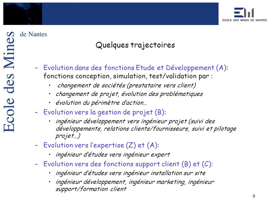 9 Quelques trajectoires –Evolution dans des fonctions Etude et Développement (A): fonctions conception, simulation, test/validation par : changement d
