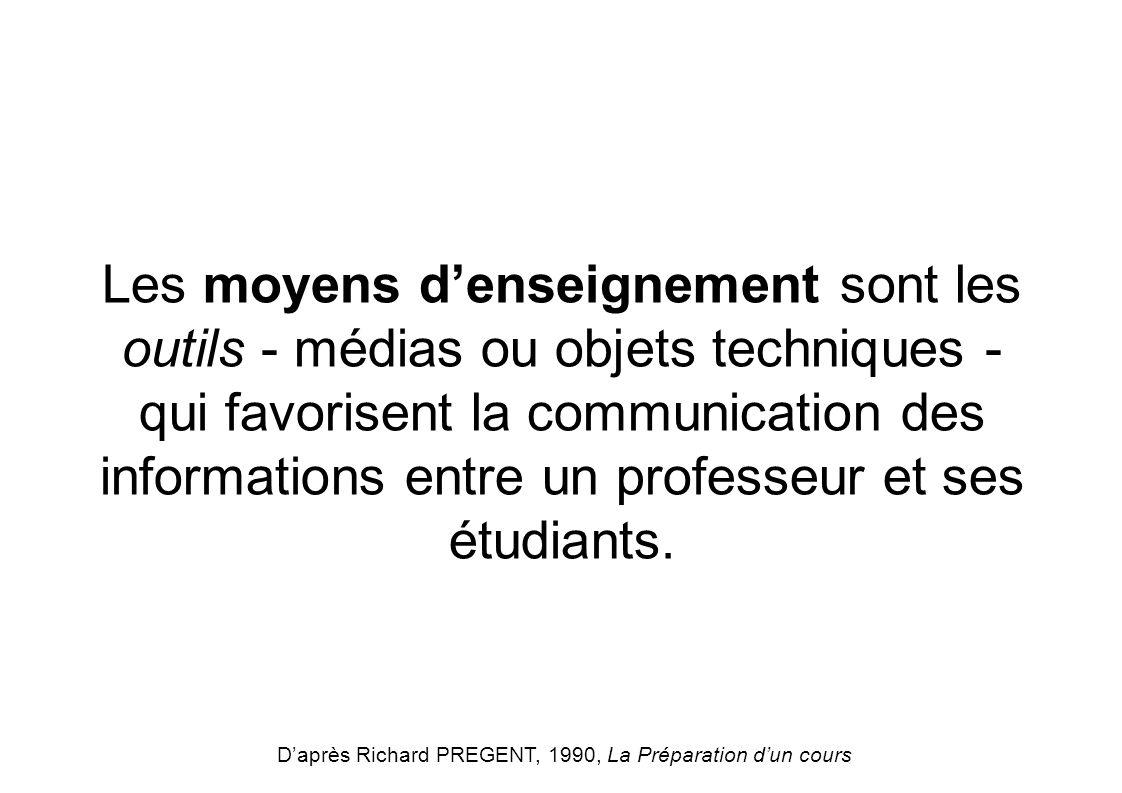 Les moyens denseignement sont les outils - médias ou objets techniques - qui favorisent la communication des informations entre un professeur et ses é