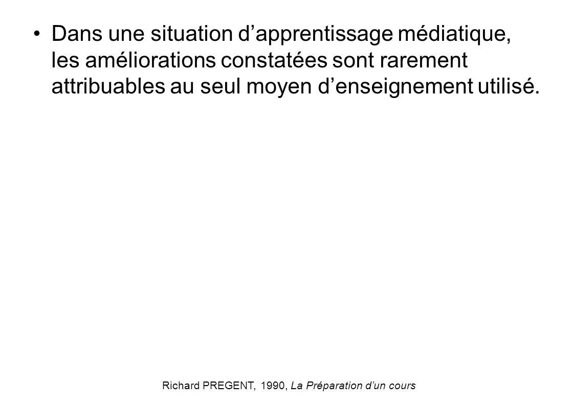 Dans une situation dapprentissage médiatique, les améliorations constatées sont rarement attribuables au seul moyen denseignement utilisé. Richard PRE