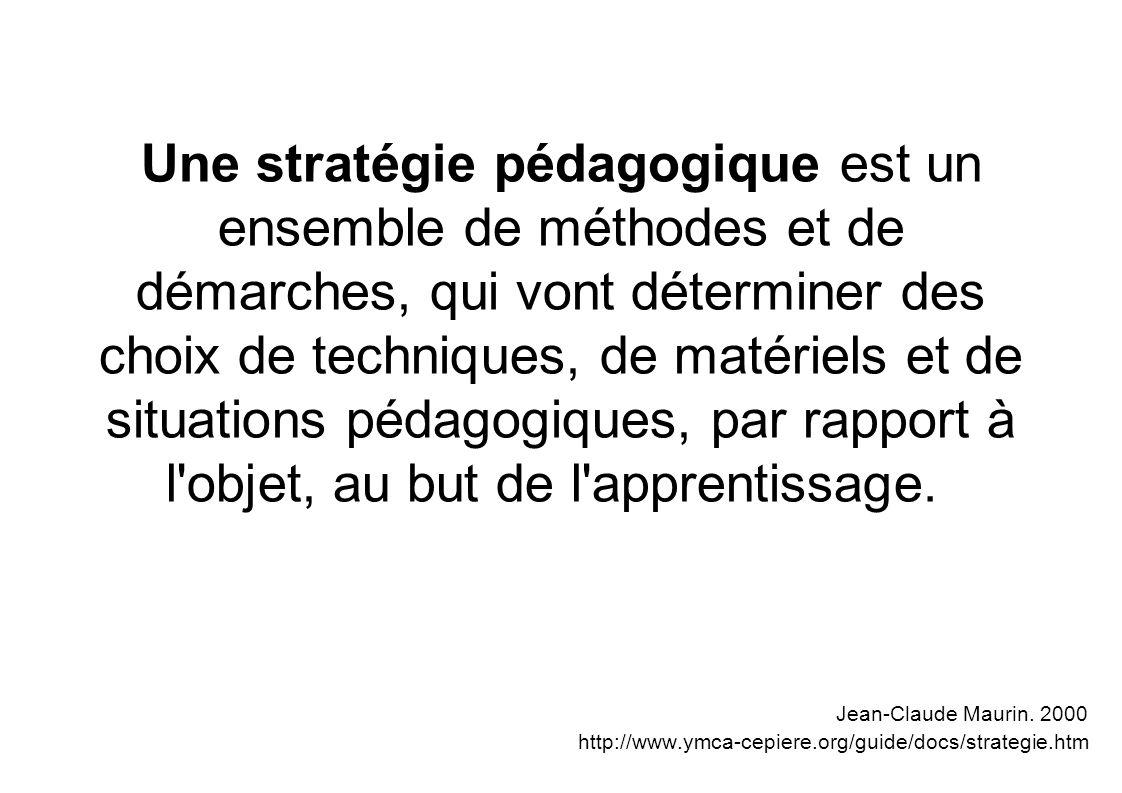 Une stratégie pédagogique est un ensemble de méthodes et de démarches, qui vont déterminer des choix de techniques, de matériels et de situations péda