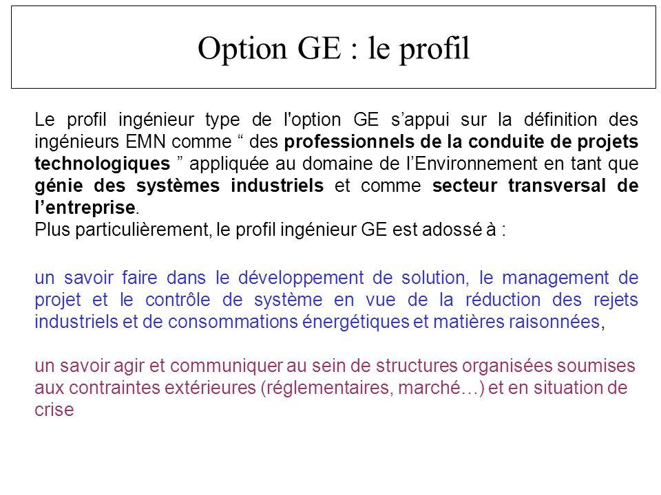 Le profil ingénieur type de l option GE sappui sur la définition des ingénieurs EMN comme des professionnels de la conduite de projets technologiques appliquée au domaine de lEnvironnement en tant que génie des systèmes industriels et comme secteur transversal de lentreprise.