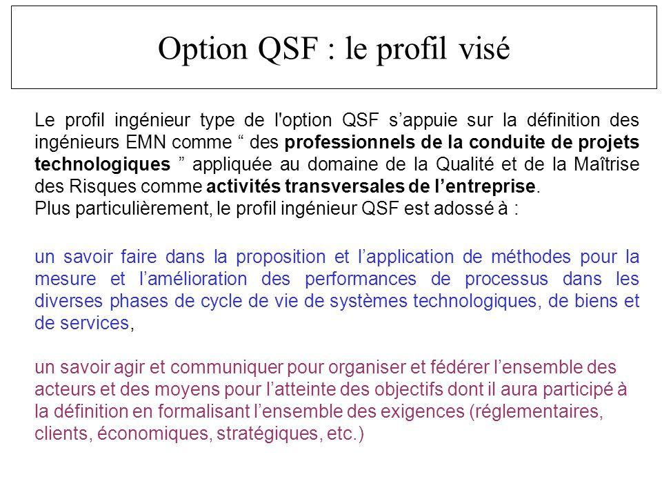 Le profil ingénieur type de l option QSF sappuie sur la définition des ingénieurs EMN comme des professionnels de la conduite de projets technologiques appliquée au domaine de la Qualité et de la Maîtrise des Risques comme activités transversales de lentreprise.