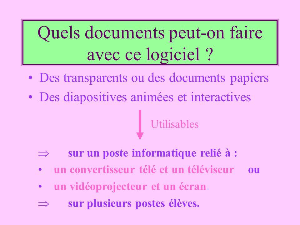 Quels documents peut-on faire avec ce logiciel ? Des transparents ou des documents papiers Des diapositives animées et interactives sur un poste infor