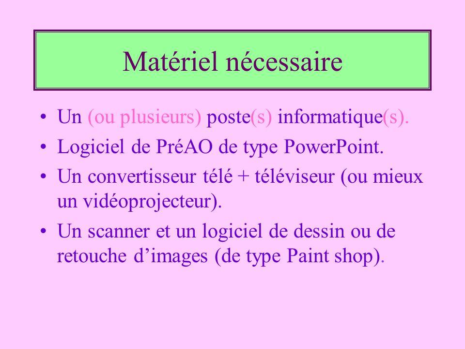 Matériel nécessaire Un (ou plusieurs) poste(s) informatique(s). Logiciel de PréAO de type PowerPoint. Un convertisseur télé + téléviseur (ou mieux un