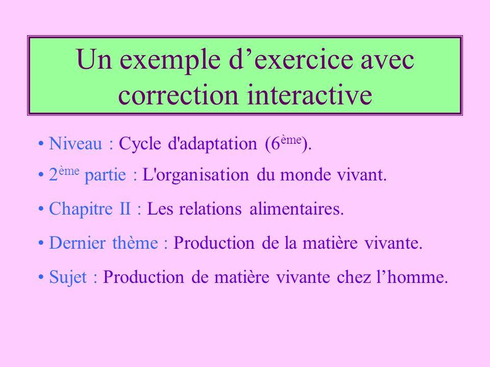 Un exemple dexercice avec correction interactive Niveau : Cycle d'adaptation (6 ème ). 2 ème partie : L'organisation du monde vivant. Chapitre II : Le