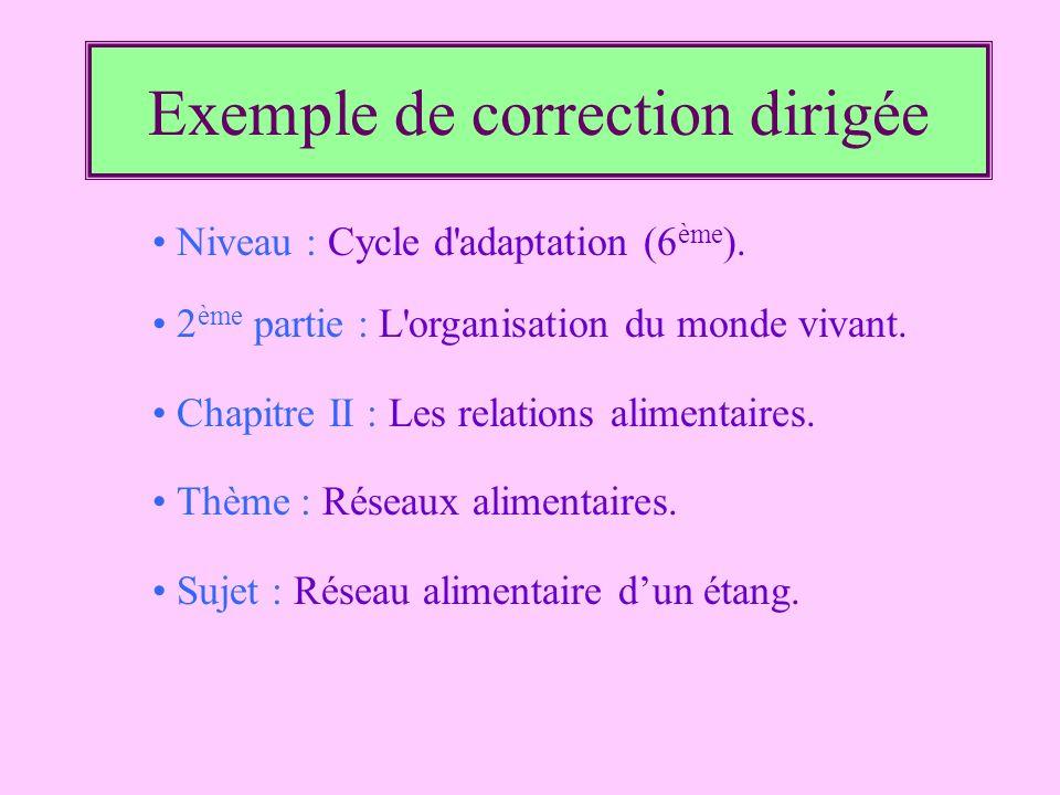 Exemple de correction dirigée Niveau : Cycle d'adaptation (6 ème ). 2 ème partie : L'organisation du monde vivant. Chapitre II : Les relations aliment