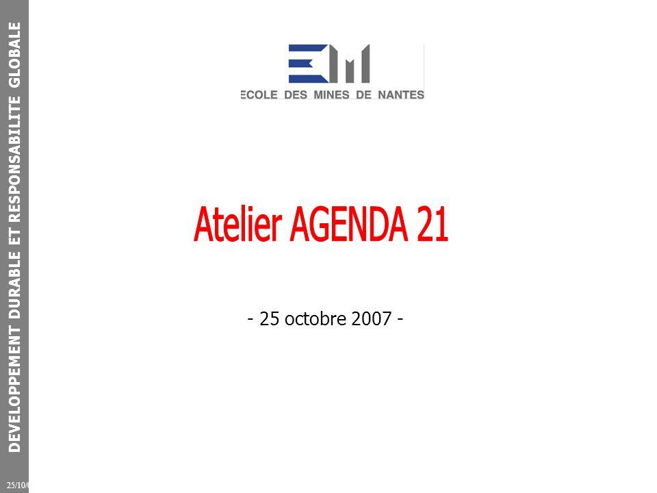 DEVELOPPEMENT DURABLE ET RESPONSABILITE GLOBALE 25/10/07 Rappel du contexte - Montée en puissance du Développement Durable / Responsabilité Globale - Etablissement de formation et de recherche : nous sommes concernés - La mise en mouvement est collective (CGE) - Il sagit de changements structurels