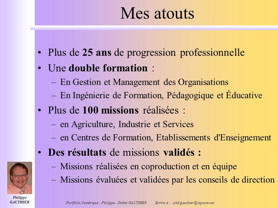 Philippe GAUTHIER Portfolio Numérique : Philippe - Didier GAUTHIER Ecrire à : phd.gauthier@laposte.net Mes types d'interventions 1.Ingénierie des disp