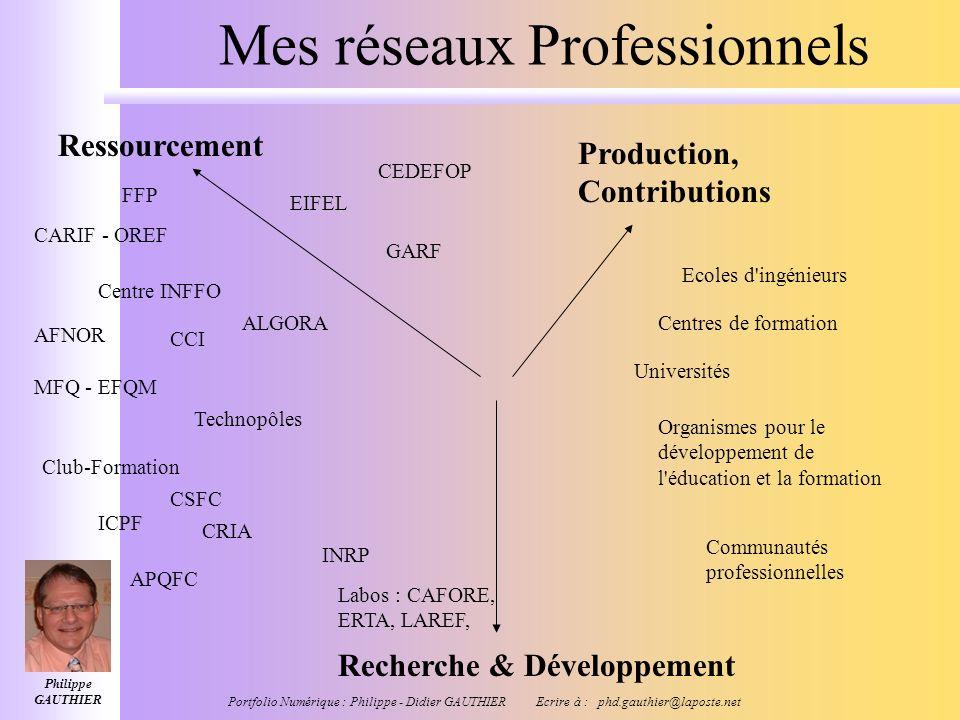 Philippe GAUTHIER Portfolio Numérique : Philippe - Didier GAUTHIER Ecrire à : phd.gauthier@laposte.net Mes employeurs ou clients Centres de formation