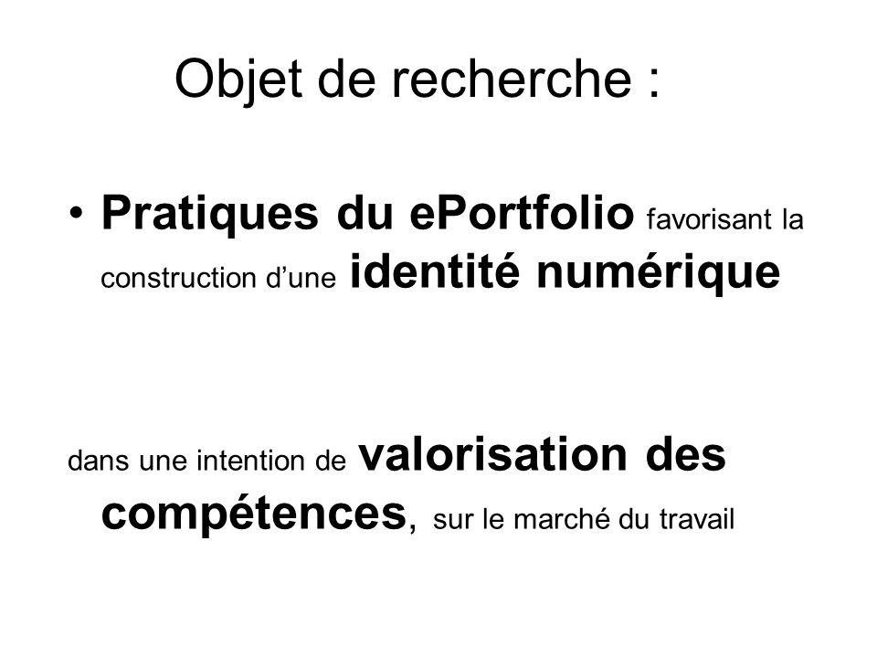 Objet de recherche : Pratiques du ePortfolio favorisant la construction dune identité numérique dans une intention de valorisation des compétences, sur le marché du travail