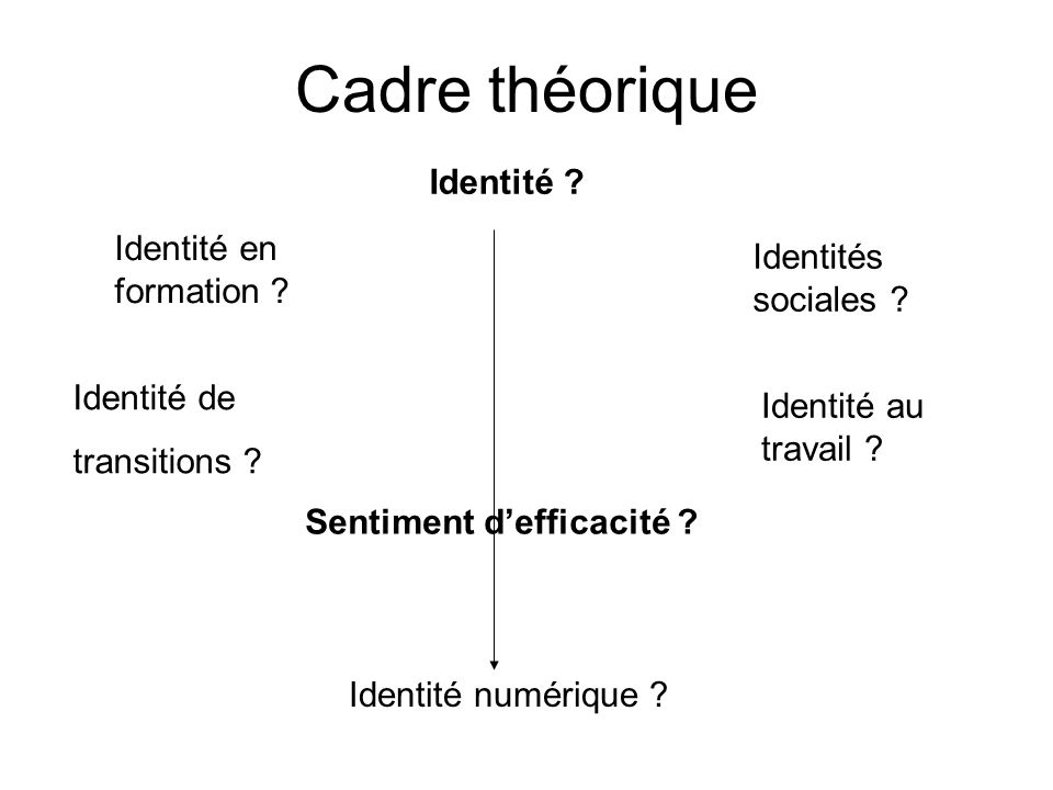 Cadre théorique Identité .Identité en formation .