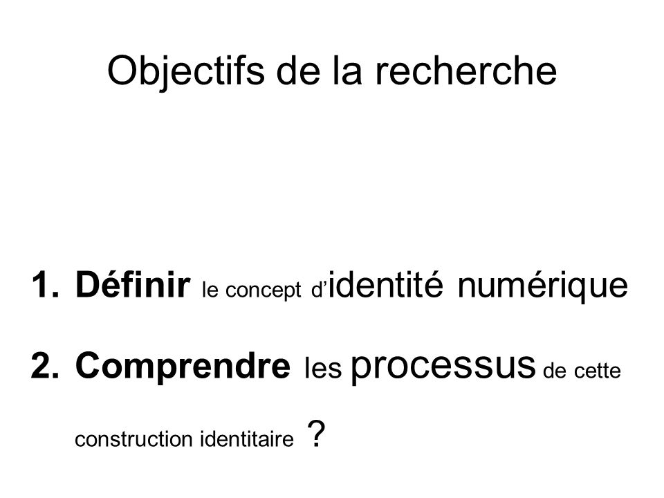 Objectifs de la recherche 1.Définir le concept d identité numérique 2.Comprendre les processus de cette construction identitaire ?