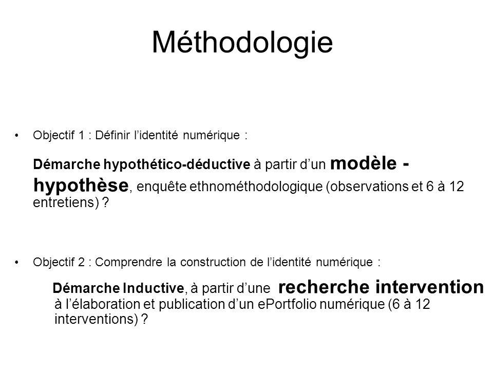 Méthodologie Objectif 1 : Définir lidentité numérique : Démarche hypothético-déductive à partir dun modèle - hypothèse, enquête ethnométhodologique (observations et 6 à 12 entretiens) .