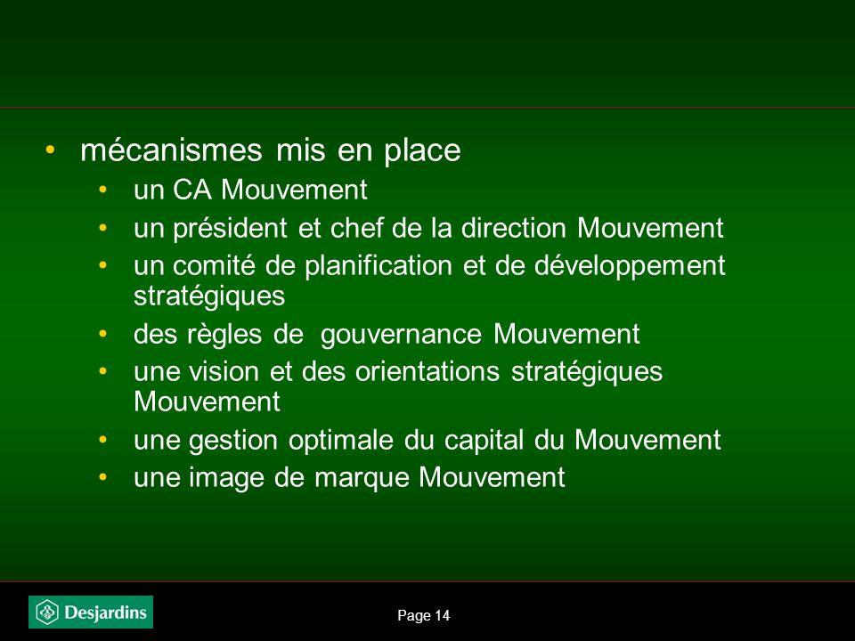 Page 13 Direction stratégique Mouvement En 2001 : Phase 1 objectifs de la direction unique renforcer lunité de pensée et daction en : intégrant les gr