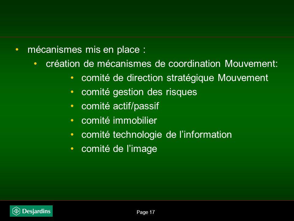 Page 16 mécanismes mis en place : création de fonctions stratégiques à portée Mouvement: PVP exécutif et chef de la direction financière PVP exécutif