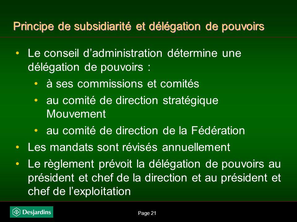Page 20 Principe de subsidiarité et délégation de pouvoirs Ces règlements sont adoptés par lassemblée générale de la Fédération réunissant 1 500 délég