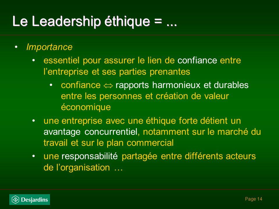 Page 13 Le Leadership éthique =...