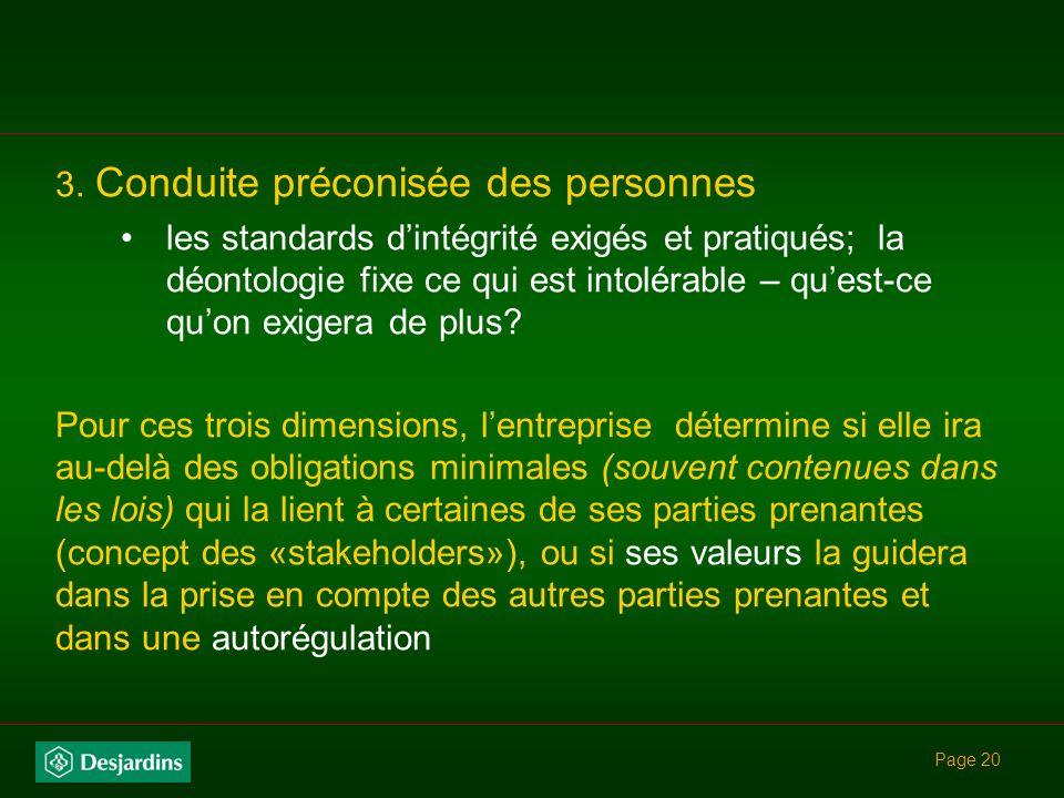 Page 19 Léthique en trois dimensions pour une entreprise… 1.Rôle au sein de la collectivité (mission) la mission est porteuse de valeurs en soi (ex.