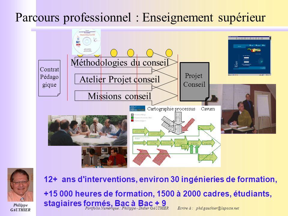 Philippe GAUTHIER Portfolio Numérique : Philippe - Didier GAUTHIER Ecrire à : phd.gauthier@laposte.net Parcours professionnel PhD en Education DEA Ing