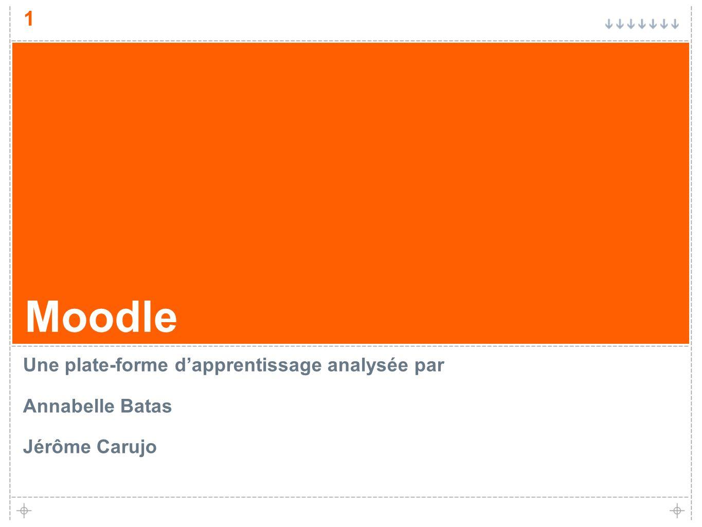 1 Moodle Une plate-forme dapprentissage analysée par Annabelle Batas Jérôme Carujo