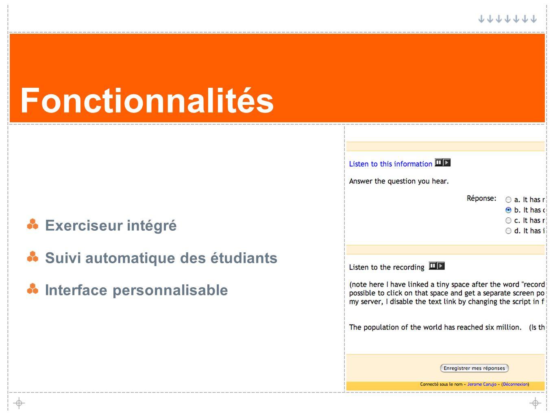 13 Fonctionnalités Exerciseur intégré Suivi automatique des étudiants Interface personnalisable