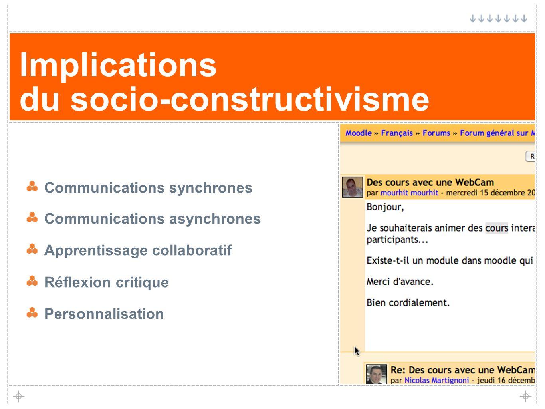 7 Implications du socio-constructivisme Communications synchrones Communications asynchrones Apprentissage collaboratif Réflexion critique Personnalis