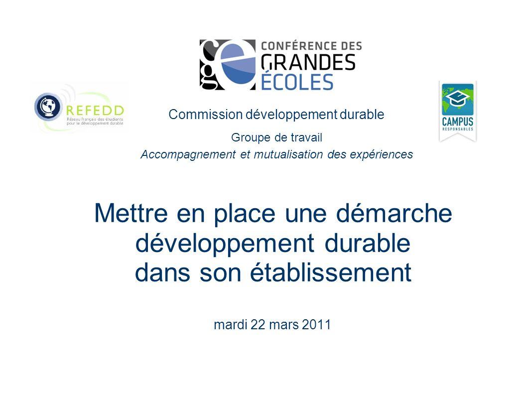 Mettre en place une démarche développement durable dans son établissement mardi 22 mars 2011 Commission développement durable Groupe de travail Accompagnement et mutualisation des expériences