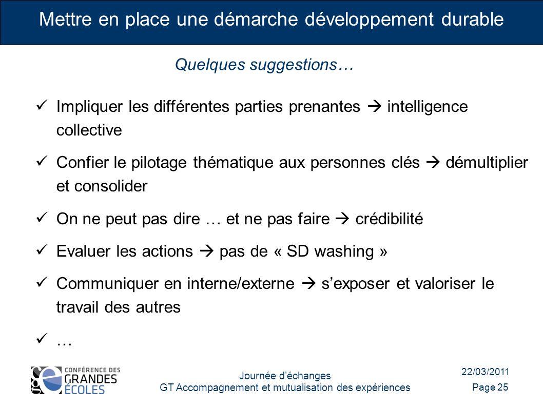 Impliquer les différentes parties prenantes intelligence collective Confier le pilotage thématique aux personnes clés démultiplier et consolider On ne