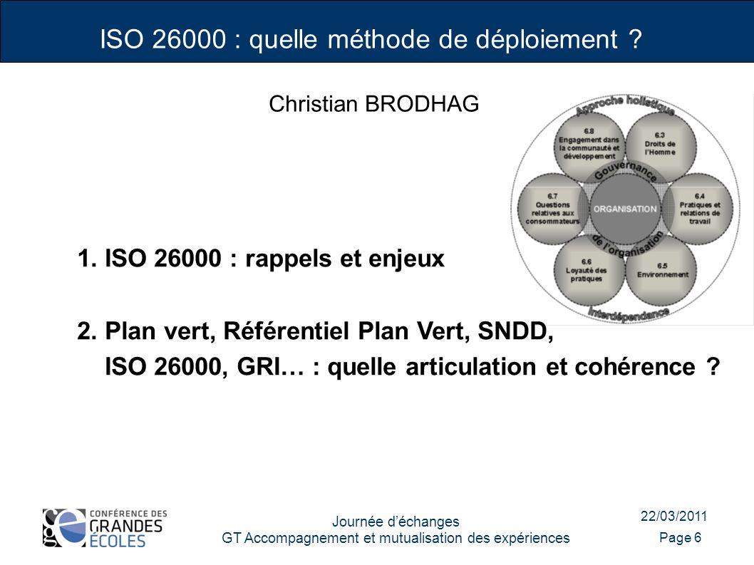 22/03/2011 Journée déchanges GT Accompagnement et mutualisation des expériences Page 6 1. ISO 26000 : rappels et enjeux 2. Plan vert, Référentiel Plan