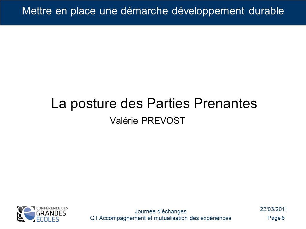 22/03/2011 Journée déchanges GT Accompagnement et mutualisation des expériences Page 8 Mettre en place une démarche développement durable La posture d