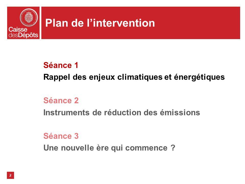 2 Plan de lintervention Séance 1 Rappel des enjeux climatiques et énergétiques Séance 2 Instruments de réduction des émissions Séance 3 Une nouvelle è