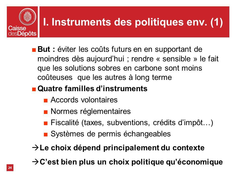 I. Instruments des politiques env. (1) 24 But : éviter les coûts futurs en en supportant de moindres dès aujourdhui ; rendre « sensible » le fait que