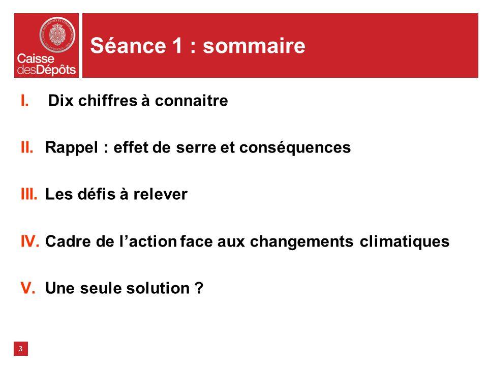 3 Séance 1 : sommaire I.Dix chiffres à connaitre II.Rappel : effet de serre et conséquences III.Les défis à relever IV.Cadre de laction face aux chang