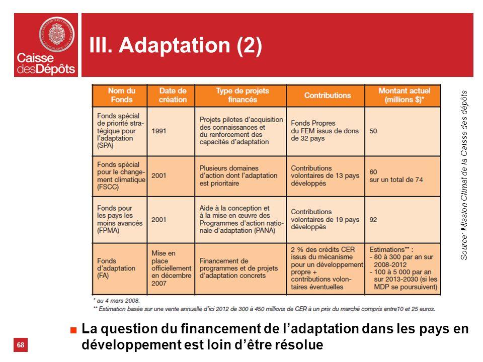 III. Adaptation (2) 68 La question du financement de ladaptation dans les pays en développement est loin dêtre résolue Source: Mission Climat de la Ca