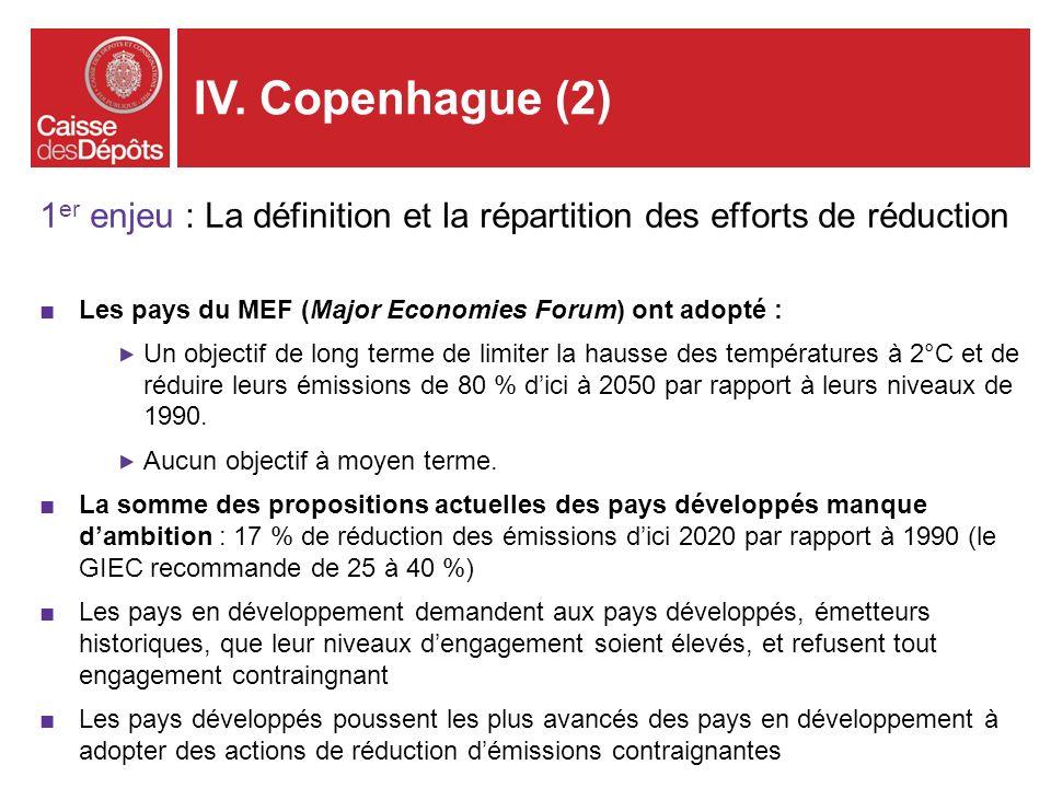 1 er enjeu : La définition et la répartition des efforts de réduction Les pays du MEF (Major Economies Forum) ont adopté : Un objectif de long terme d