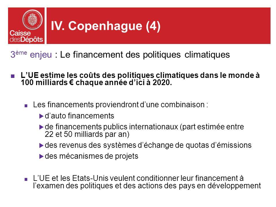 3 ème enjeu : Le financement des politiques climatiques LUE estime les coûts des politiques climatiques dans le monde à 100 milliards chaque année dic