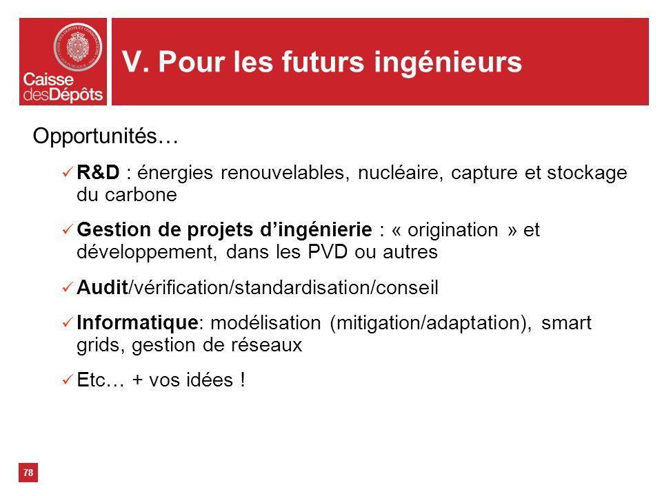 V. Pour les futurs ingénieurs 78 Opportunités… R&D : énergies renouvelables, nucléaire, capture et stockage du carbone Gestion de projets dingénierie